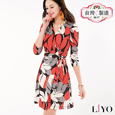LIYO理優MIT印花收腰洋裝(橘)