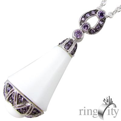RingCity 白瑪瑙幸運鐘造型墜鍊