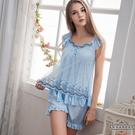 大尺碼 蓋袖二件式睡衣 粉藍 L-2L Annabery
