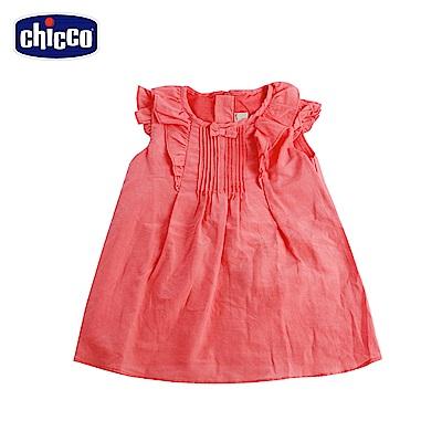 chicco-春遊-荷葉袖洋裝-粉(12-24個月)