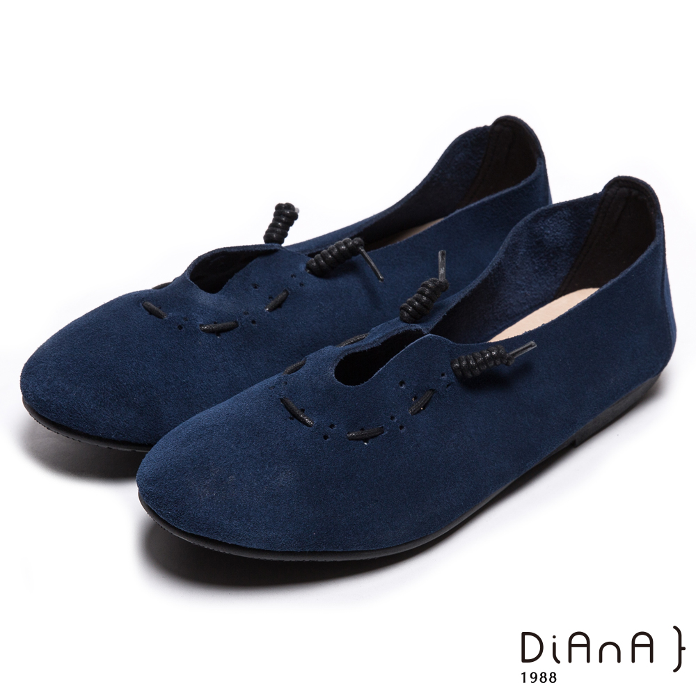 DIANA 漫步雲端布朗尼款--日系街頭文青真皮懶人鞋-午夜藍