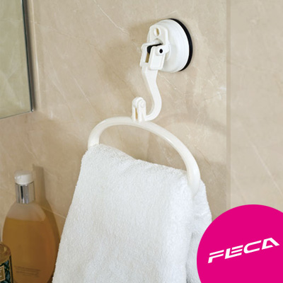 【FECA】 非卡 雙釦式 超強力吸盤 毛巾環(白)