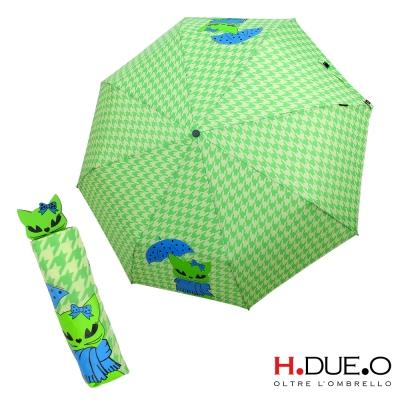 義大利H.DUE.O 俏麗黑貓抗UV三折手開傘-綠色