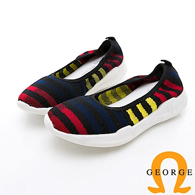 GEORGE 喬治-條紋抓皺厚底休閒鞋-黑