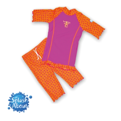《Splash About 潑寶》 兒童抗UV游泳套裝 - 桃紅 / 水族剪影