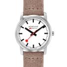 MONDAINE 瑞士國鐵 超薄系列腕錶-白x駝色錶帶/36mm