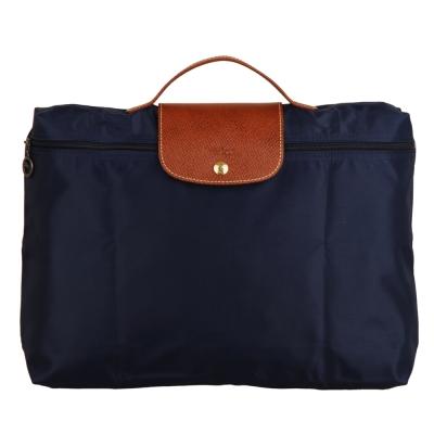 Longchamp-摺疊萬用手提公事包-深藍