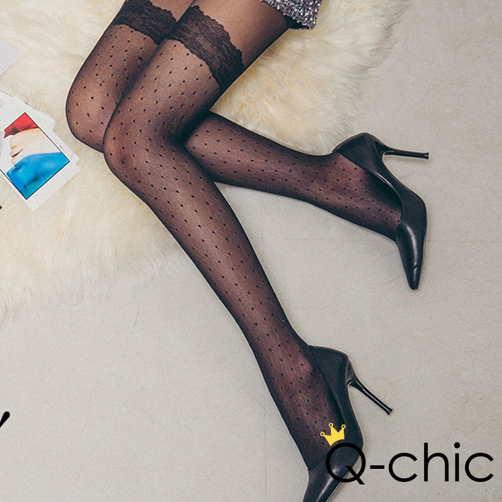 正韓 浪漫蕾絲菱格點點透膚絲襪 (共二色)-Q-chic