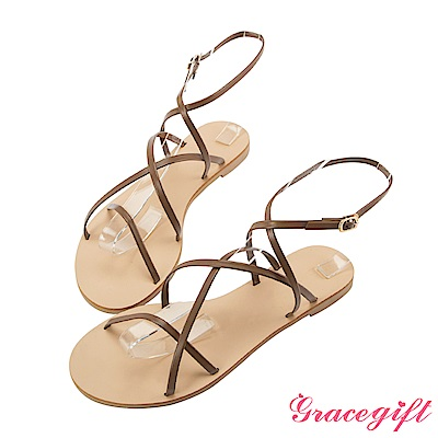 Grace gift-交叉層次細帶平底涼鞋 咖啡