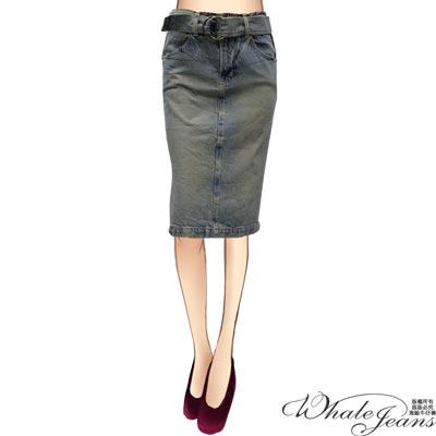 WHALE JEANS 復古簡約輕奢聚焦中腰及膝牛仔窄裙
