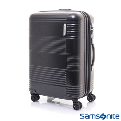 Samsonite新秀麗 24吋Mazon幾何線條PC可擴充TSA海關鎖行李箱(霧黑)