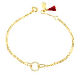 SHASHI 紐約品牌 Circle Pave 鑲鑽圓滿圈圈手鍊 925純銀鑲18K金