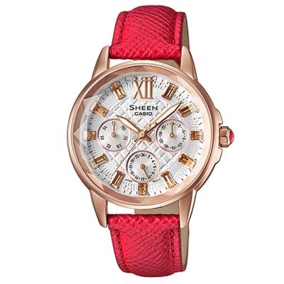 SHEEN 璀璨華麗多角度鏡面切割菱格紋腕錶(SHE-3029PGL-7A)紅X金框34mm