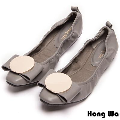 Hong Wa 大圓扣造型舒適平底鞋-灰