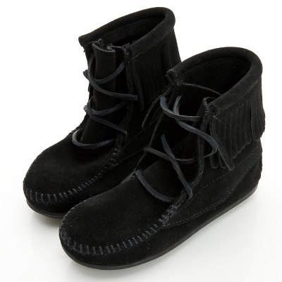 MINNETONKA 個性牛仔風麂皮黑色流蘇短靴 童鞋