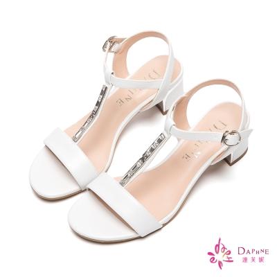 達芙妮DAPHNE-雅緻佳人T字方鑽金屬搭扣繞踝繫帶粗跟涼鞋-人氣嫩白