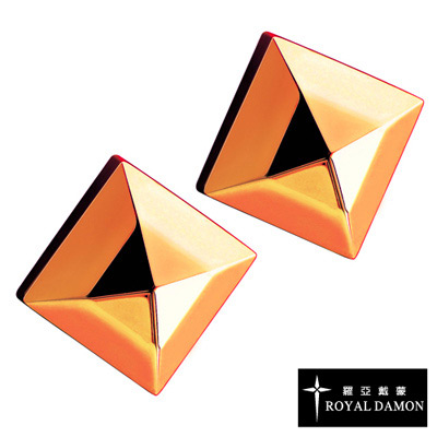 Royal Damon羅亞戴蒙 方型鉚釘 耳環(玫瑰金)