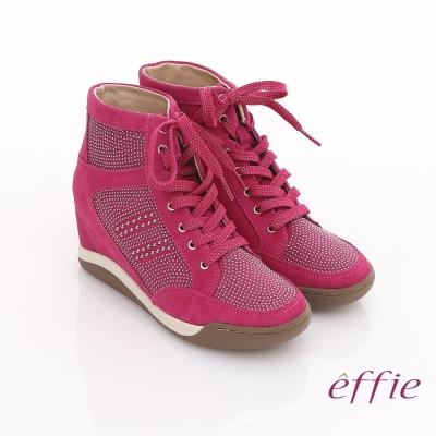 effie 趣味樂活 鉚釘絨面牛皮內增高鞋 桃粉