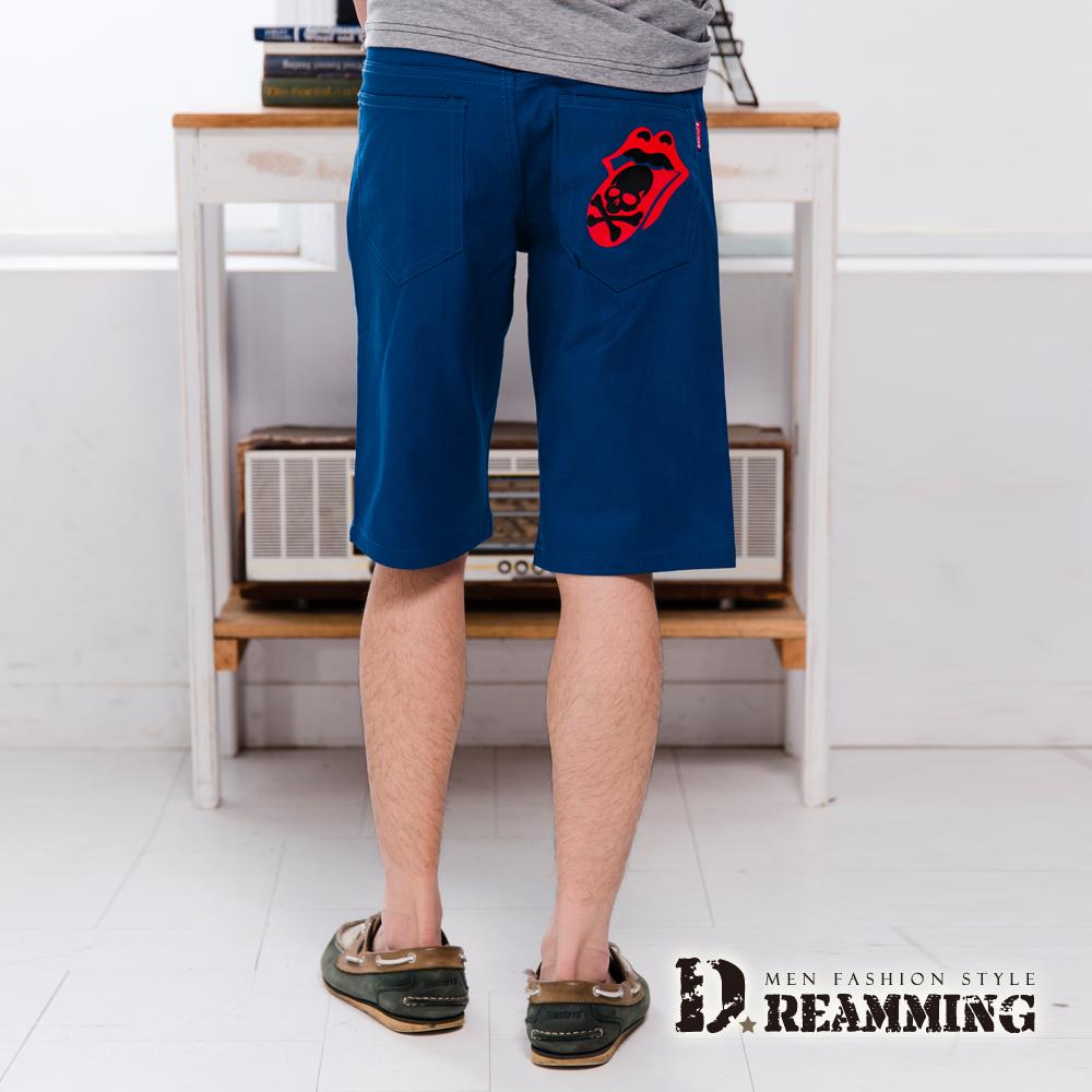 Dreamming 嘻哈喇舌骷顱徽章伸縮休閒短褲-共二色 (藍色)