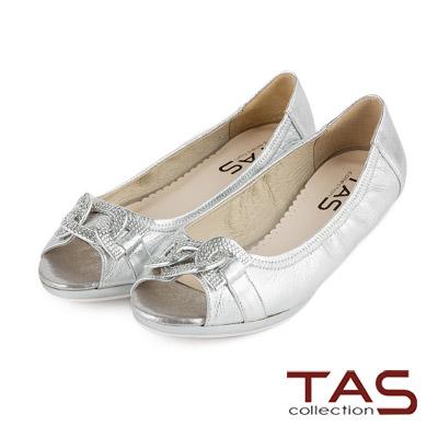 TAS-水鑽環帶造型魚口娃娃鞋-閃爍銀