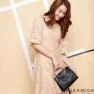 La Moda氣質滿點復古鐵環設計牛紋手提肩背斜背子母包(黑)