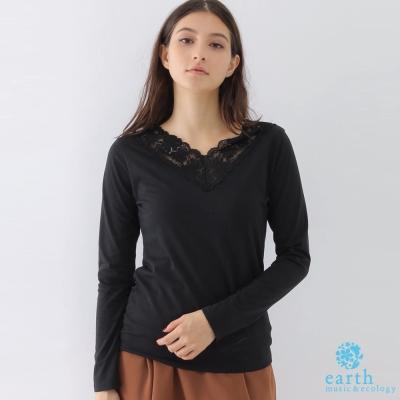 earth music 蕾絲花邊領口素面上衣