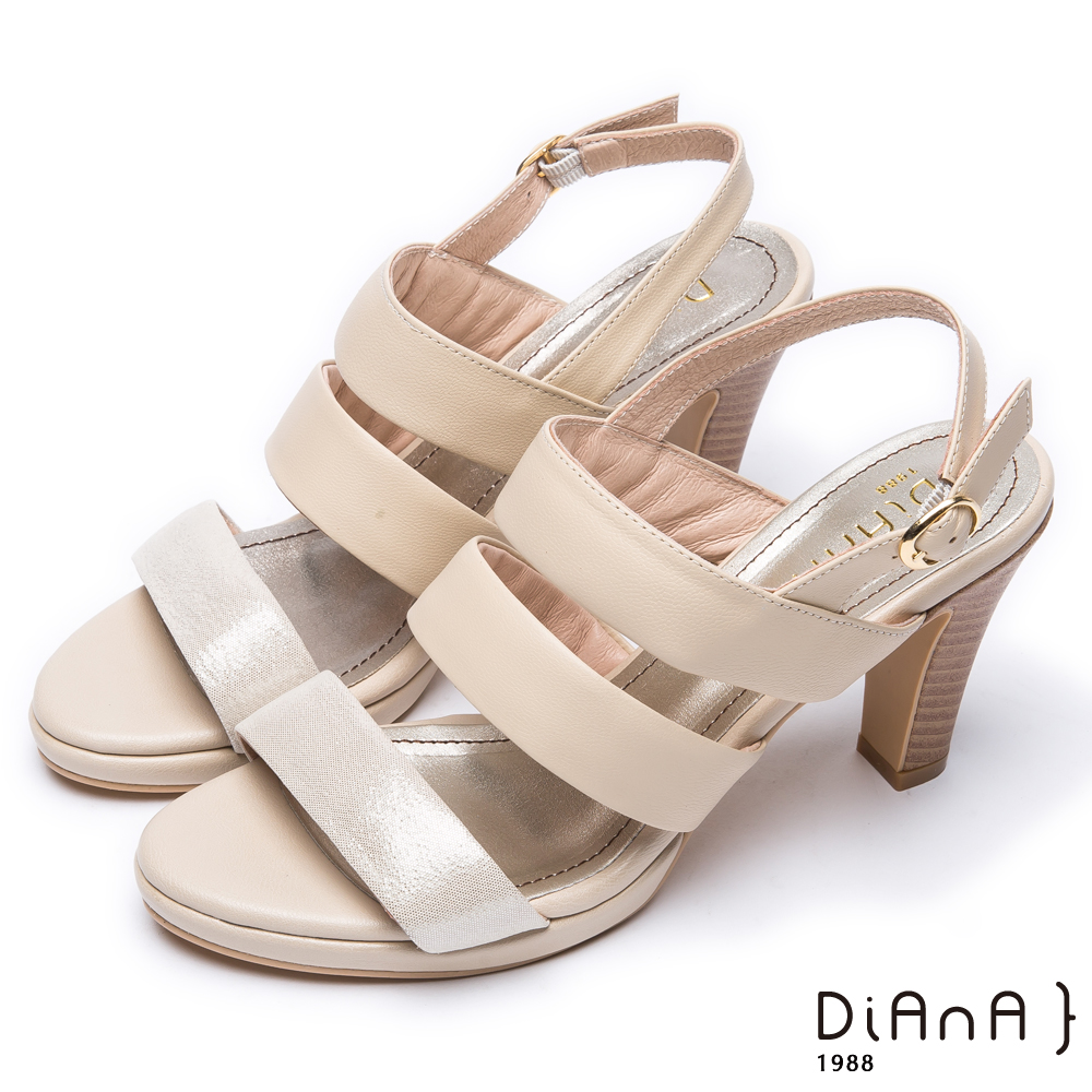 DIANA 香榭氣質--雙色三條帶設計真皮高跟涼鞋 – 米