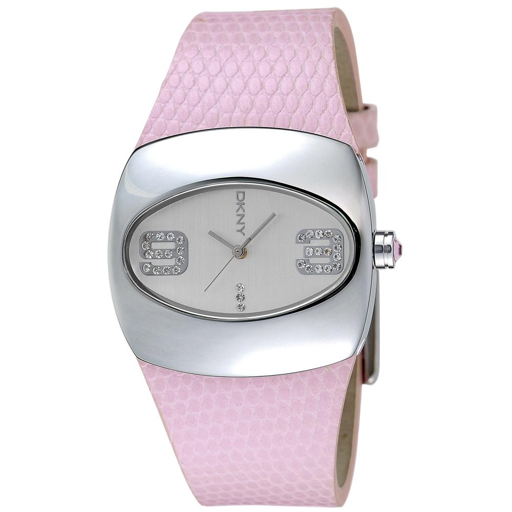 【DKNY】氣質淑女晶鑽腕錶(粉紅)