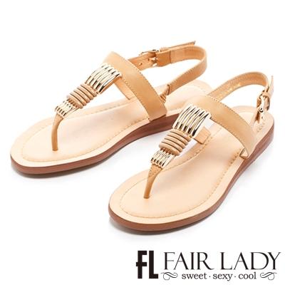 Fair Lady 金屬拼接夾腳低楔型涼鞋 卡其