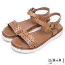 DIANA 夏日約會--雷射編織紋真皮厚底涼鞋 –棕