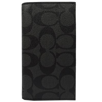 COACH 黑灰LOGO PVC可放手機式多功能中夾