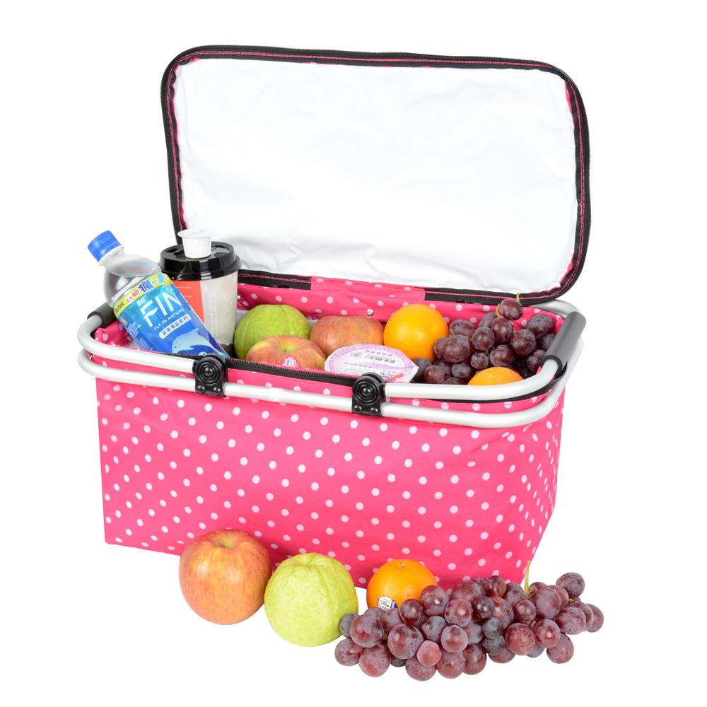 LIFECODE《點點風》鋁合金折疊保冰袋/野餐提籃 (桃紅色)