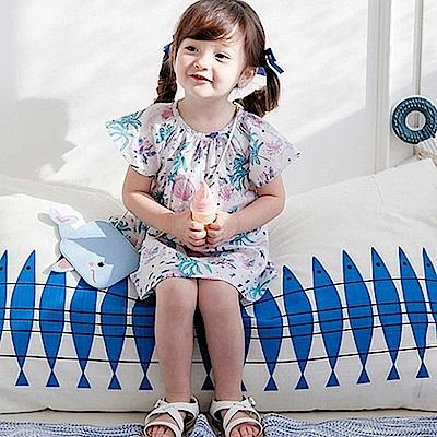 BEBEZOO 藍紫珊瑚貝殼短袖洋裝