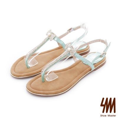 SM-晶鑽真皮-蝴蝶結鑽飾平底粗跟夾腳涼鞋-湖水藍