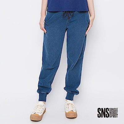 SNS 俏皮美式復古休閒束口牛仔褲(1色)