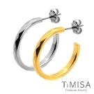 TiMISA 格緻真愛-細版(雙色)純鈦耳環一對