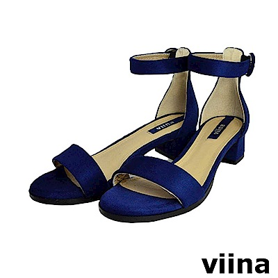 viina-牛皮一字繫帶低跟涼鞋-深藍色