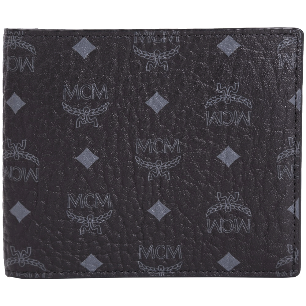 MCM Claus 品牌圖騰皮革對折短夾(黑色)