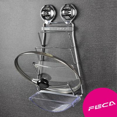 FECA非卡 無痕強力吸盤 鍍鉻不鏽鋼鍋蓋架