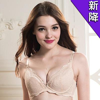 華歌爾 優雅水滴型刺繡蕾絲B-D罩杯內衣(柔雅膚)