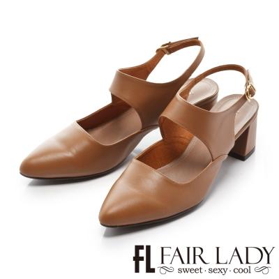 Fair Lady 優雅小姐Miss Elegant 赫本風復古皮革粗跟鞋 棕