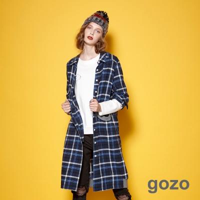 gozo 英倫格紋拼接口袋長版襯衫洋裝 (二色)