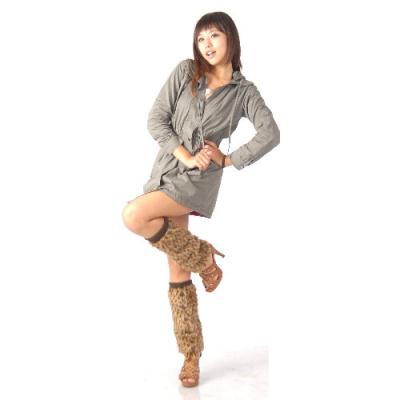 寒冬最熱夯品-日系長版保暖毛絨腿套(豹紋)