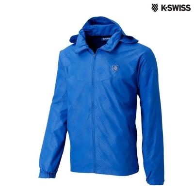 K-Swiss Printed Windbeaker風衣外套-男-藍