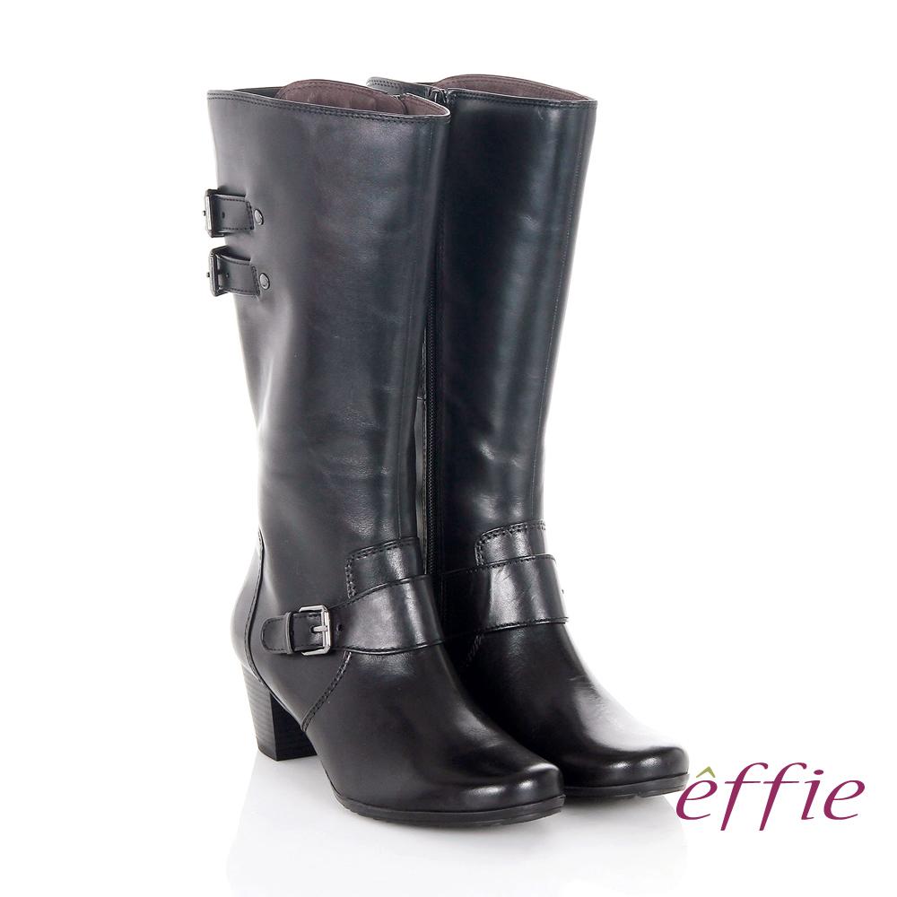 effie 魅力時尚 復古素面拼接方扣粗跟長靴 黑色