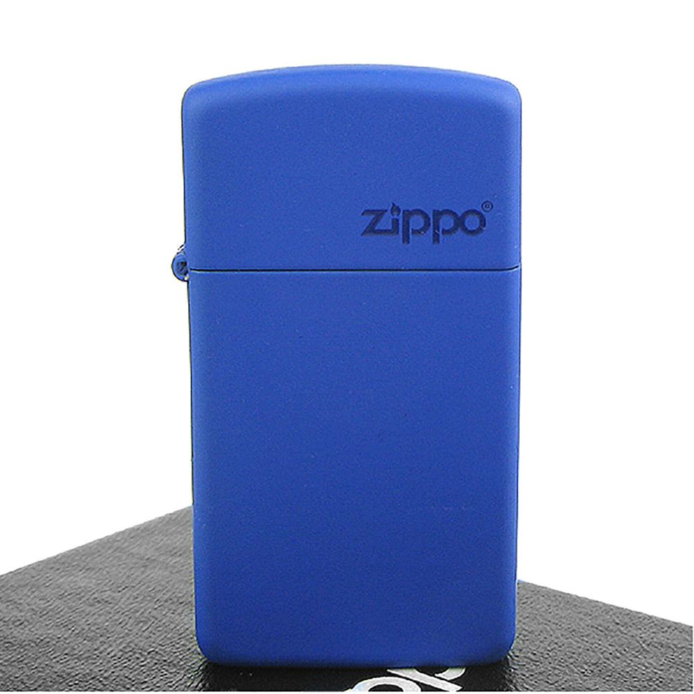 【ZIPPO】美系~LOGO字樣打火機~Royal Blue Matte寶藍烤漆-窄版