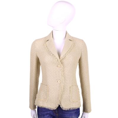 TRUSSARDI 卡其色流蘇設計排釦外套