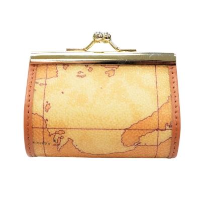 Alviero Martini 義大利地圖包 半月扣式零錢包(小)-地圖黃