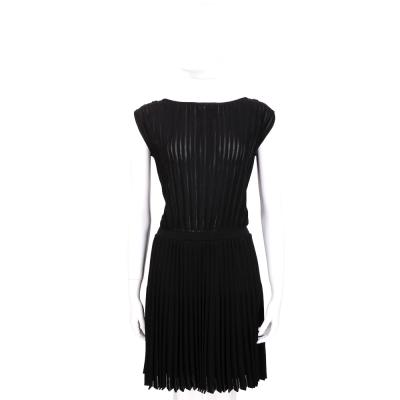 VERSACE 黑色直紋百褶包袖洋裝