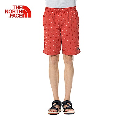 The North Face北面男款紅色印花舒是防潑水運動短褲